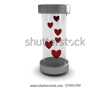 abstract 3d illustration of red hearts in glass tube