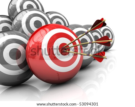 abstract 3d illustration of right target concept