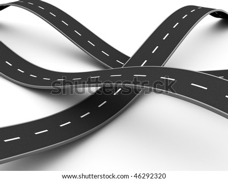 abstract 3d illustration of road knot over white background