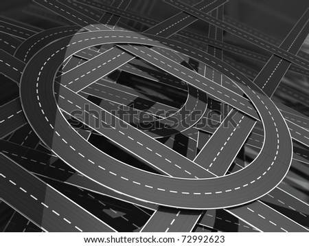 abstract 3d illustration of road knots background