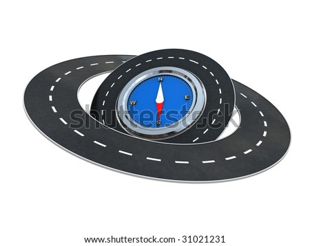 abstract 3d illustration of roads around compass over white background