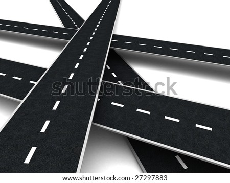 abstract 3d illustration of roads cross