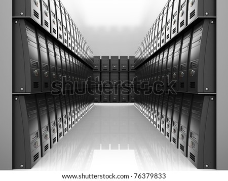 abstract 3d illustration of room with many servers  computers