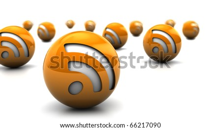 abstract 3d illustration of rss symbol balls over white background