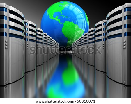 abstract 3d illustration of server computers and earth globe, internet concept
