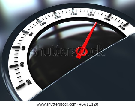 abstract 3d illustration of speed meter with red arrow