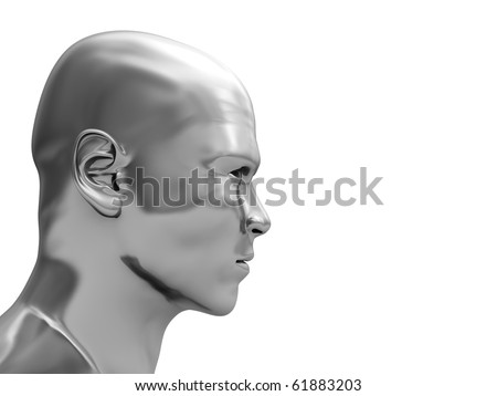 abstract 3d illustration of steel head isolated over white background
