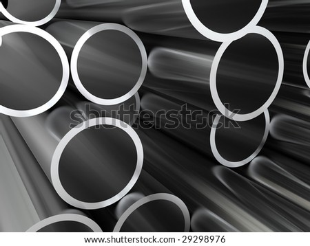 abstract 3d illustration of steel pipes background