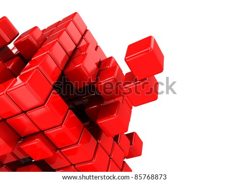 abstract 3d illustration of structure built with cubes, isolated over white background