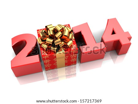 abstract 3d illustration of text 2014 with present box, over white background