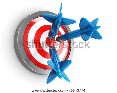 abstract 3d illustration of three darts hit target
