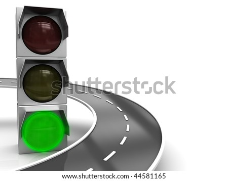 abstract 3d illustration of traffic light with green color and road