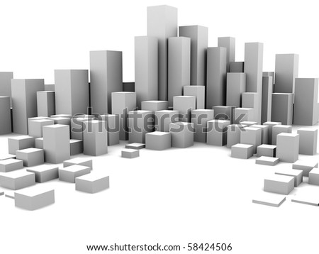 abstract 3d illustration of white boxes background