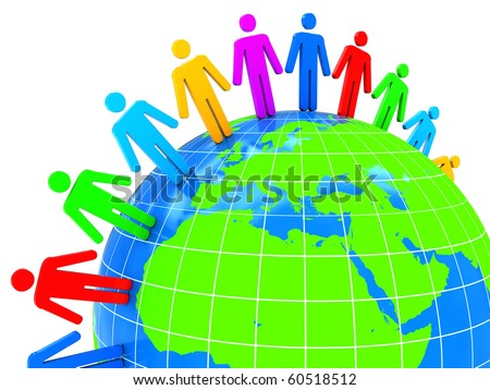 abstract 3d illustration of world with colorful people, over white background