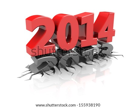 abstract 3d illustration of year 2013 change to 2014, over white background
