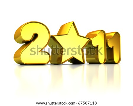 abstract 3d illustration of 2011 year sign with golden star
