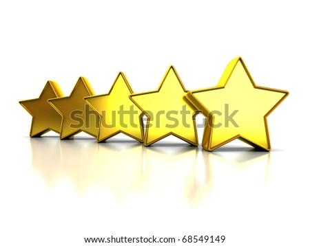 abstract 3d illustration of yellow stars rating symbol, over white background