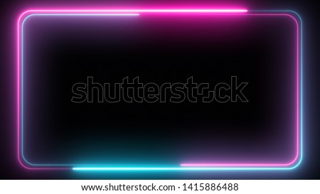 Abstract 3d illustration pattern of neon glowing ultraviolet lines, modern fluorescent light, neon box, pattern for LED screens projection technology, loop 4k background, blue purple spectrum