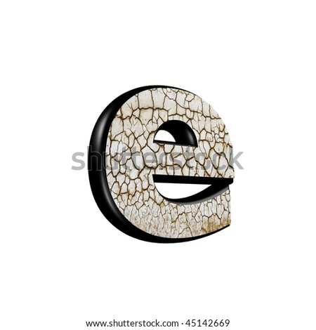 abstract 3d letter with dry ground texture - E