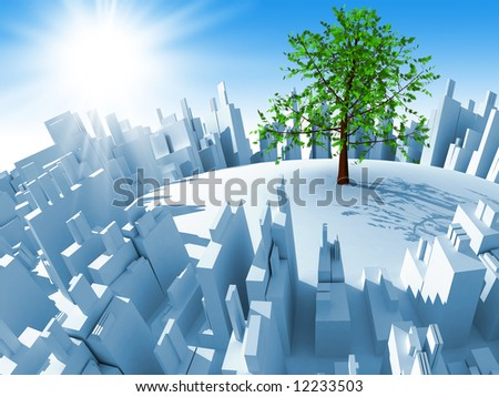 Abstract 3d mega-city and one tree