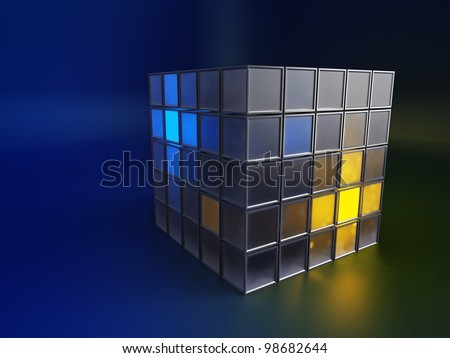 Abstract 3d metallic and glowing boxes