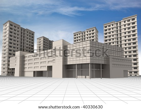 abstract 3d modern architecture wire frame of office building and apartment houses abstract 3d office building