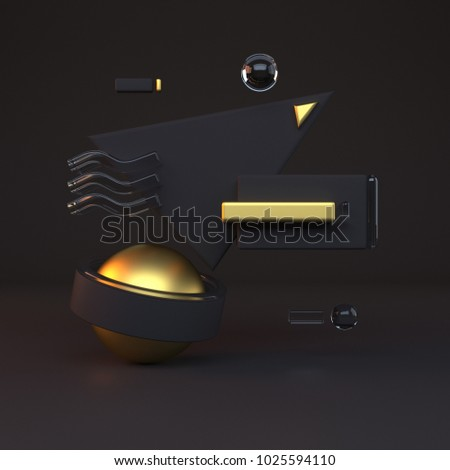 Abstract 3D of gold objects on black background