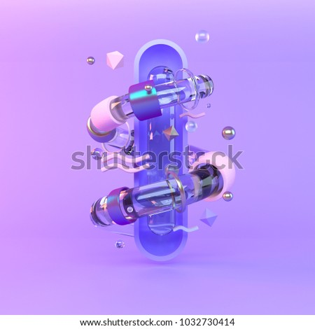 Abstract 3D of metal objects on violet background