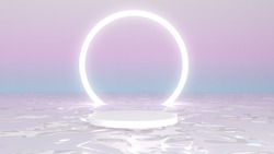 Abstract 3D pastel gradient background white podium on the water and circle light at the back. Easy to photoshoping for display product, Advertising.