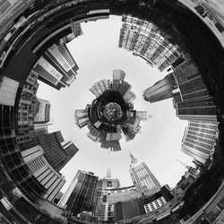 Abstract 3d Planet of City in Tunnel