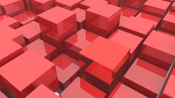 abstract 3d red metal cubes background.3D rendering.