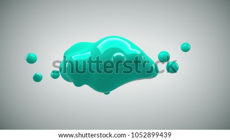 Abstract 3D render illustration - deformed figure. metaball blue color drop