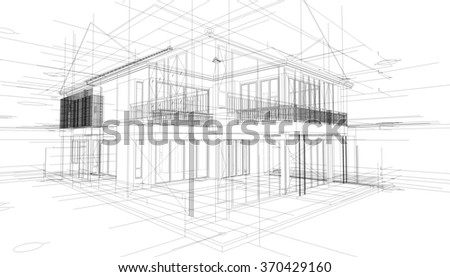 abstract 3d render of building wireframe structure construction