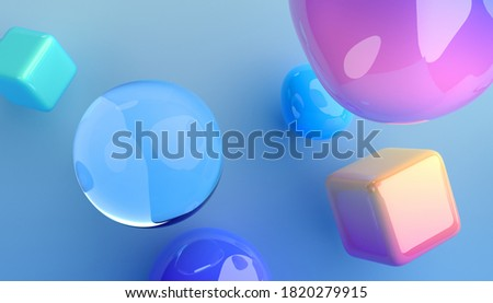 Abstract 3d render of colorful bubbles and cubes, background design