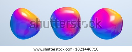 Abstract 3d render of colorful bubbles, background design