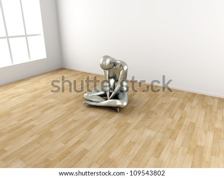 Abstract 3D rendered illustration of a depressed woman.