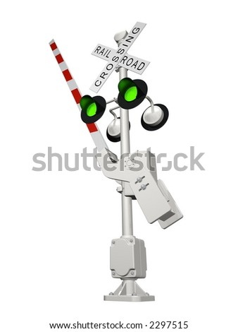 Abstract 3D rendered railroad crossing with green light (position OPEN)