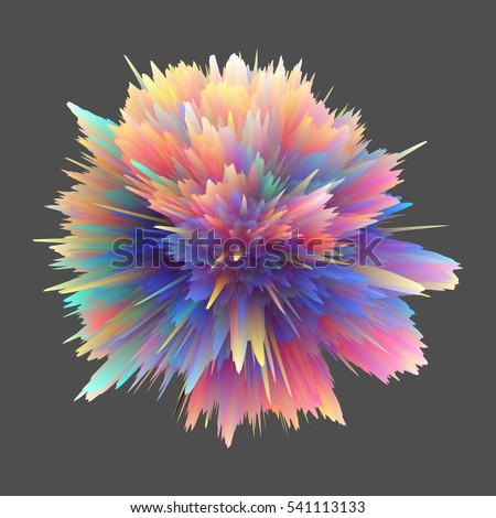 Abstract 3D rendering - object with extruded surface, isolated explosion on dark background