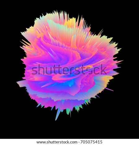 Stock Photo Abstract 3D rendering - object with extruded surface, isolated explosion on dark background