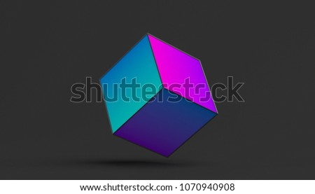 Stock Photo Abstract 3d rendering of a cube. Modern background with geometric shape. Minimalistic design for poster, cover, branding, banner, placard.