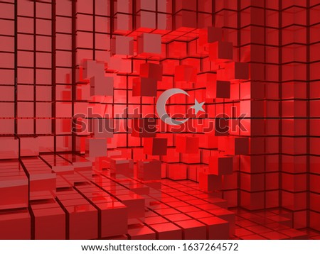 Abstract 3d rendering of chaotic particles. Sci fi cubes in empty space. Futuristic background.Abstract 3d Turkish Flag Explosion Stok fotoğraf ©