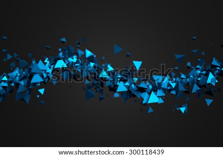 Stock Photo Abstract 3d rendering of chaotic particles. Sci fi pyramids in empty space. Futuristic background.
