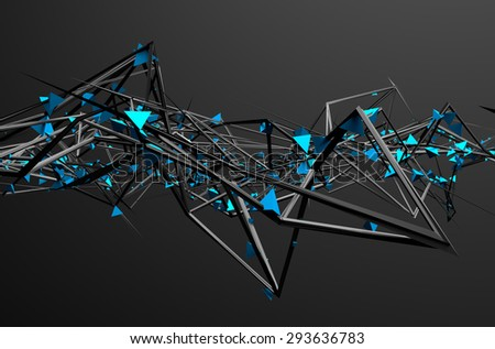 Stock Photo Abstract 3d rendering of chaotic structure. Dark background with futuristic shape in empty space.