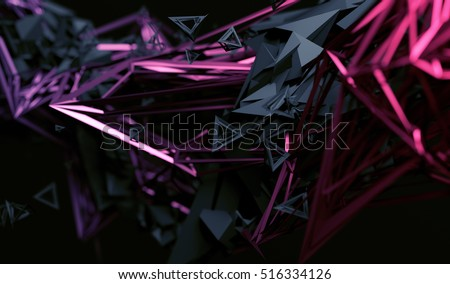 Stock Photo Abstract 3d rendering of chaotic surface. Contemporary background with futuristic polygonal shape. Distorted low poly object with sharp lines.