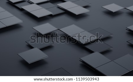 Abstract 3d rendering of geometric shapes. Composition with squares. Futuristic surface design. Modern background for poster, cover, branding, banner, placard.
