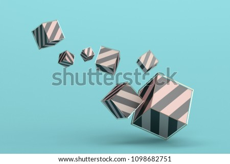 Abstract 3d rendering of geometric shapes. Minimalistic composition. Modern background design for poster, cover, branding, banner, placard.