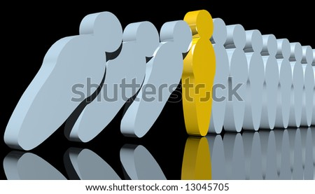 abstract 3d rendering of men-like pawns falling down
