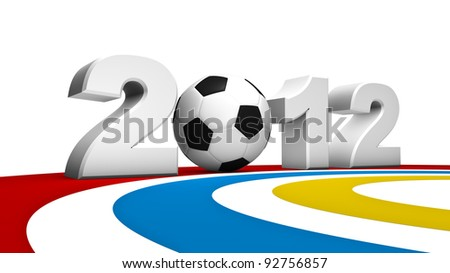 Abstract 3D rendering of soccer uefa euro 2012
