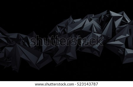 Stock Photo Abstract 3d rendering of triangulated surface. Contemporary background of futuristic polygonal shape. Distorted low poly backdrop with sharp edges.