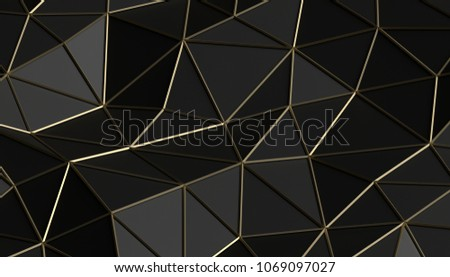 Stock Photo Abstract 3d rendering of triangulated surface. Modern background. Futuristic polygonal shape. Low poly minimalistic design for poster, cover, branding, banner, placard.